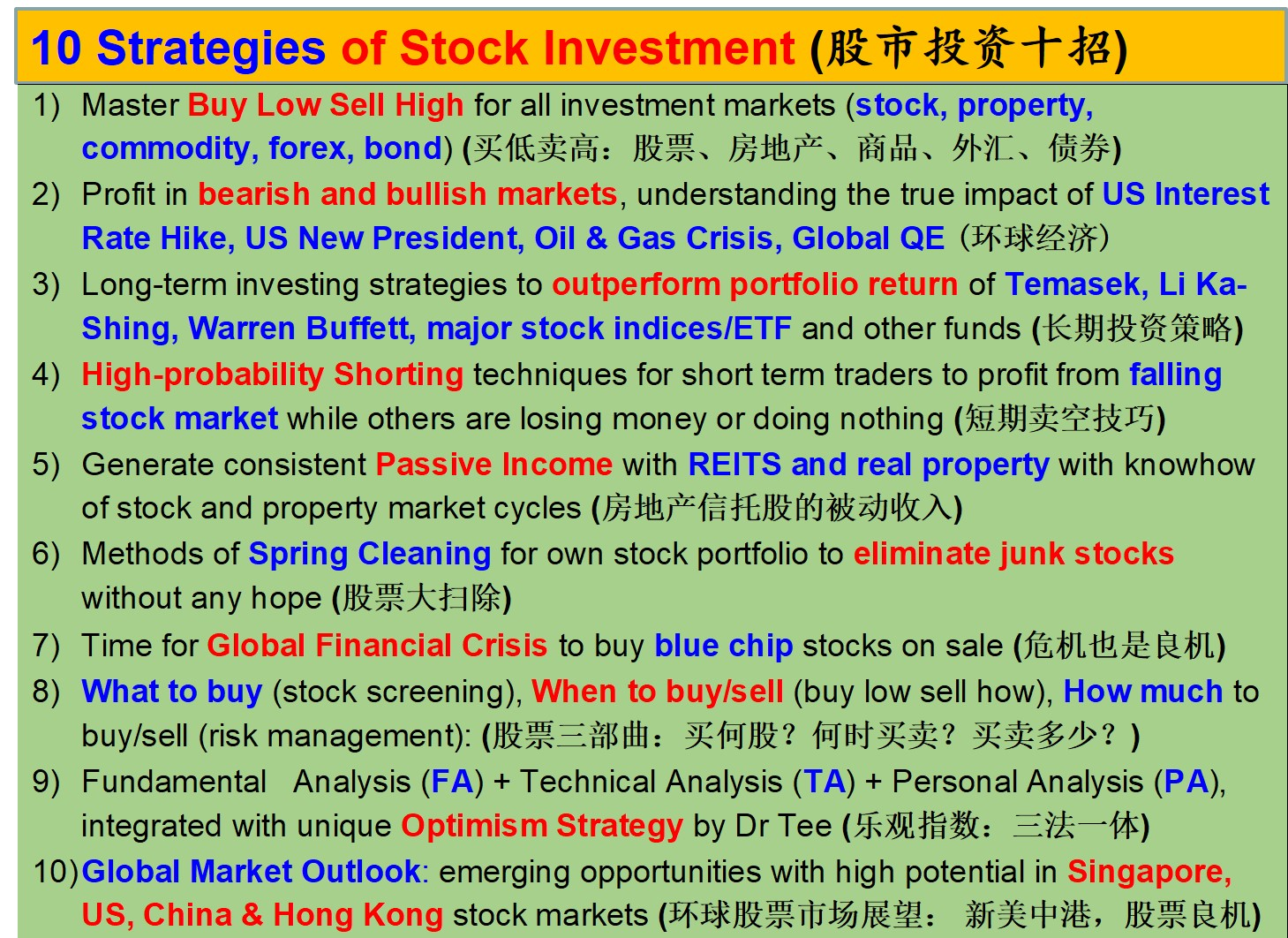 10 Strategies of Stock Investment